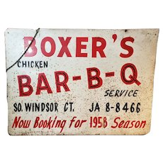 Tin Bar - B - Q Barbecue Sign All Original * Date 1957 Windsor, Connecticut