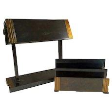 Mid-Century Moderne Desk Set Art Deco Bronze - Brass Silvercrest c1940