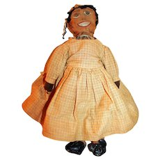 Vintage American Cloth Doll Hand Made c1890 African American Happy Doll