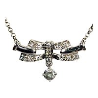 Art Deco Diamond Necklace 14kt White Gold .35ctw White Diamonds c1930s