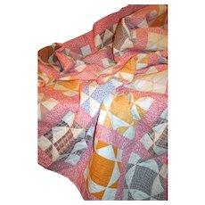 Antique Quilt American Patchwork c1875 Double Pinks & Cheddar Open Barn Door Full Sz