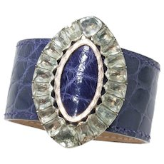 Paste Buckle and Alligator Cuff in Amethyst Glaze
