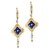 French Blue Enamel, Gold Star and Diamond Earrings - Starry Skies