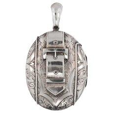 Antique: Large Silver Victorian Buckle Locket