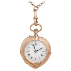 Antique: Pocket Watch as Pendant, 15 Kt Rose Gold Case