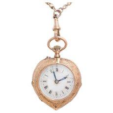Antique: Pocket Watch as Pendant, 15 Kt Rose Gold Case