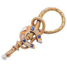 Antique: French 18 Kt Gold, Diamond & Sapphire Horseshoe Brooch
