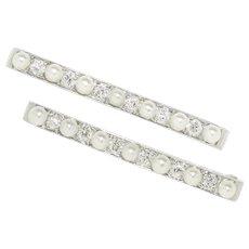 Vintage: A Pair of Art Deco Platinum, Diamond and Pearl Lingerie Pins