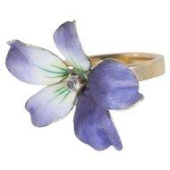 "Enamel Flower Ring with European Cut Diamond, ""Wild Violet"" (brooch conversion)"