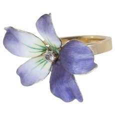 "Enamel Flower Ring with European Cut Diamond, ""Wild Violet"" (brooch conversion)"