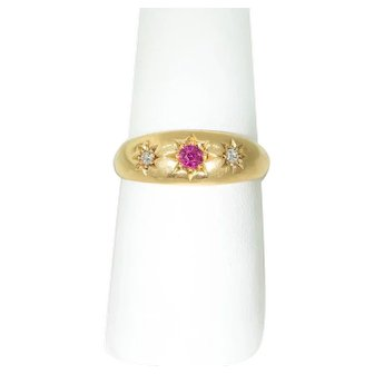 Antique 18 ct Gold, Hallmarked, Diamond and Ruby Ring (Gypsy Set )
