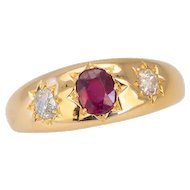 "Antique Victorian Diamond & Ruby Ring ""Gypsy Set"" in 18ct Gold"