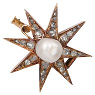 Antique: Pearl and Diamond Star Brooch, Napoleon III