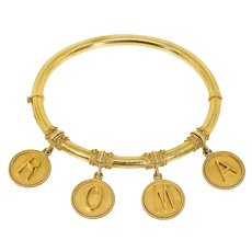 """Antique: 18 Kt Gold Rome """"ROMA"""" Bangle Bracelet in Etruscan Revival Design, Grand Tour Jewelry"""