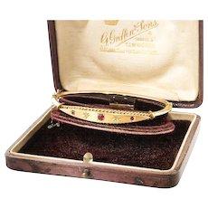 Antique: Ruby & Diamond Gold Bangle Bracelet with Box