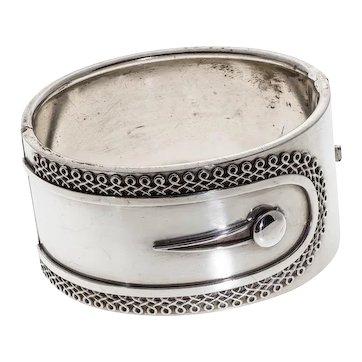 Antique: Victorian Silver Bangle, Button-Cuff