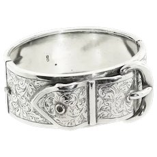 Antique: Victorian Silver Buckle Bangle (Hallmarked 1883)