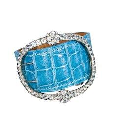 Paste Buckle and Alligator Cuff Bracelet in Versailles Blue