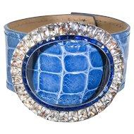 Paste Buckle and Alligator Cuff Bracelet in Denim Blue Glaze