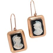 """Onyx Cameo Drop Earrings In A Rose Gold Surround - The """"Greek Warriors"""""""