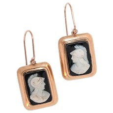 "Onyx Cameo Drop Earrings In A Rose Gold Surround - The ""Greek Warriors"""