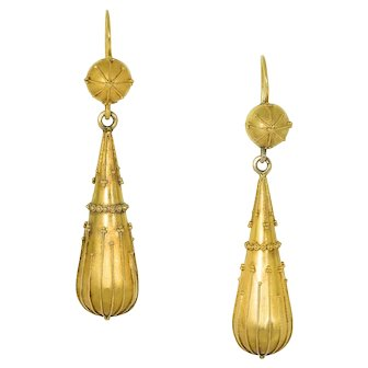 Antique: Victorian 18 kt Gold Etruscan Revival Drop Earrings