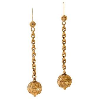 Antique: Victorian 18 ct Gold Drop Earrings, Etruscan Revival