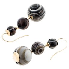 Antique: Banded Agate Earrings, Spherical Drops with 14 Ct Gold Fittings