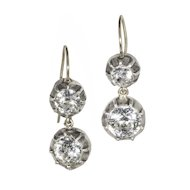Double Collet-Set Paste in Silver, Drop Earrings