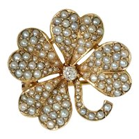 Antique: Pearl and Diamond Clover Brooch, Shamrock
