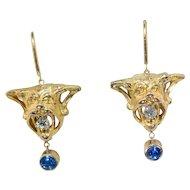 """18 Kt. Gold Devil's Head Diamond & Sapphire Earrings, """"El Diablo"""""""