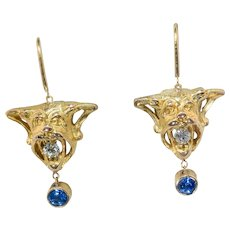 18 Kt. Gold Gargoyle Diamond & Sapphire Earrings