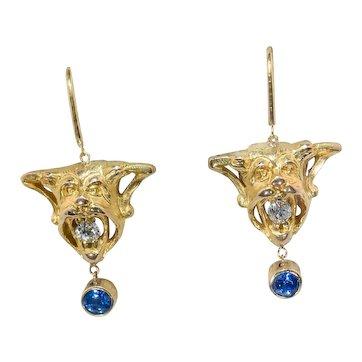 18 Kt. Gold Gargoyle Diamond & Sapphire Earrings