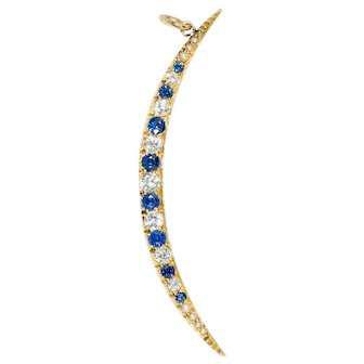 14 Ct Gold Diamond & Sapphire Crescent Pendant on 14 Ct Gold Chain