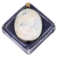 """Pale Blue Shell Cameo Pendant in 14 kt Gold Surround: Roman Goddess """"Flora"""""""