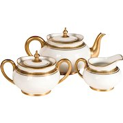 Antique/Vintage: Limoges Tea Set, White & Gold, Greek Key Pattern, France