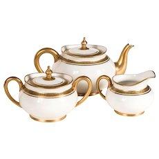 Antique/Vintage: Limoges Tea Set, White & Gold, Greek Key Pattern, France