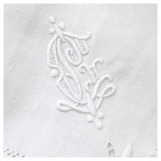 Antique Monogrammed Italian 19th c. Linen Napkins, Set of 6