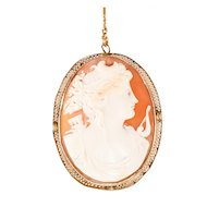 Antique: Roman Goddess Cameo Embedded in a 14kt Gold Surround