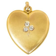Antique: Large 14 Kt Victorian Heart Locket with Diamond Set Clover