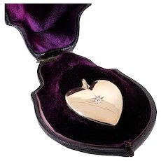 Antique: Large 14 Kt Gold Heart Locket with Diamond Set Star