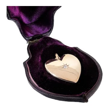 Antique: Large 14 Kt Gold Heart Locket with Diamond Set Star