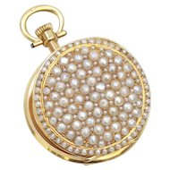 Antique: 18 kt. Gold Pocket Watch Pendant Studded with Lustrous Pearls