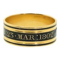 Antique: Mourning Ring, Antique Memorial Ring, Georgian Ring Hallmarked 1802