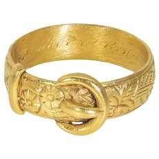 Antique: Victorian 22 ct Gold Buckle Ring, 1874, Engraved with Floral Pattern