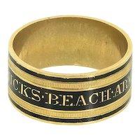 Georgian Mourning Ring 18 ct Gold, Antique Enamel Memorial Band Ring, Antique Memorial Ring, Hicks-Beach