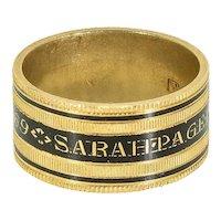 Georgian Mourning Ring, Enamel on 20 ct. Gold, Antique Enamel Memorial Band Ring, Antique Memorial Ring, 1805