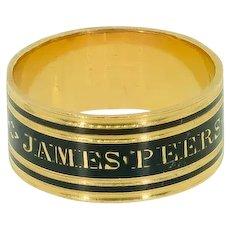 Georgian Mourning Ring 18 ct Gold, Antique Enamel Mourning Band Ring, Antique Memorial Ring