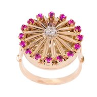 Vintage: A Rose Gold, Ruby & Diamond Cocktail Watch Ring by Cortébert
