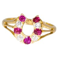 Antique: Victorian Ruby and Diamond Horseshoe Ring in 18 ct Gold, Hallmarked
